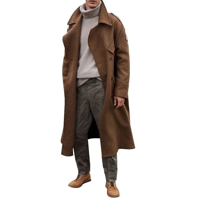 Модная зимняя модная длинная куртка, пальто, мужской однотонный плотный деловой Повседневный Тренч, Мужская ветровка с отложным воротником, верхняя одежда