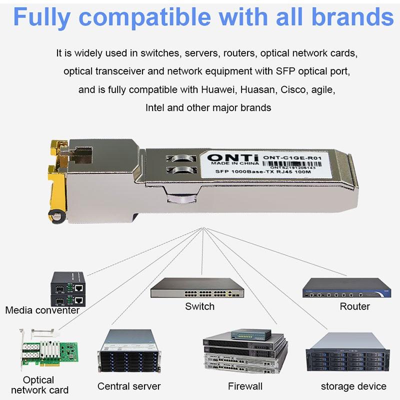 ONTi 10pcs Gigabit RJ45 SFP Module 1000Mbps Copper SFP Transceiver Module Compatible with Cisco/Mikrotik Gigabit Ethernet Switch enlarge