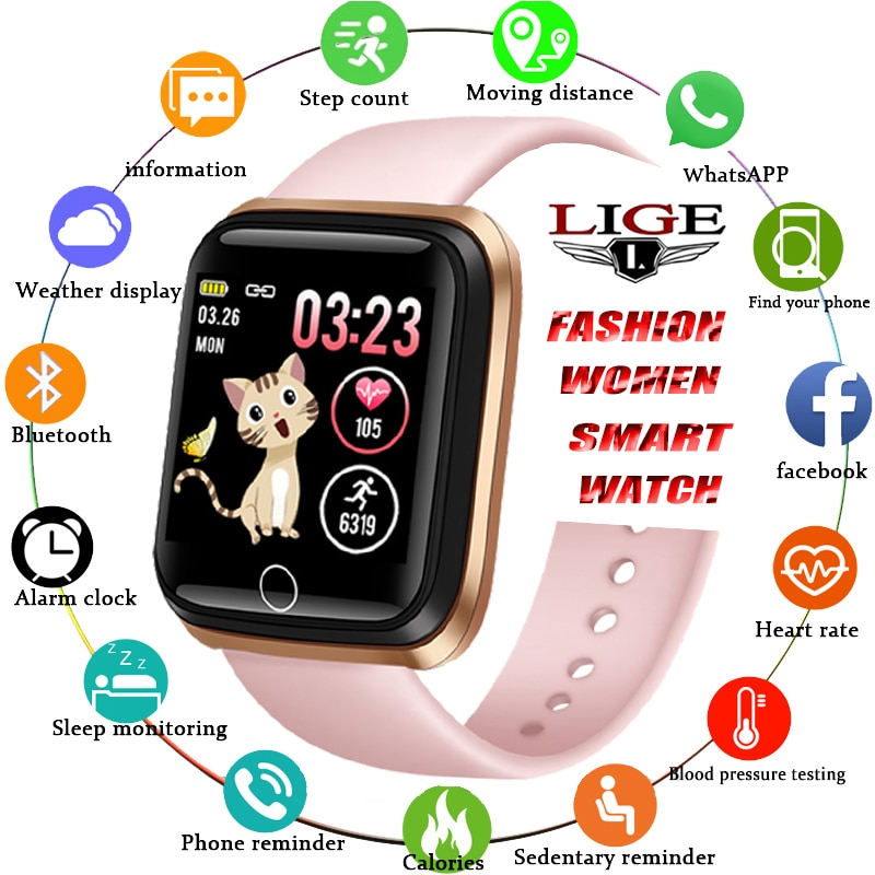 LIGE Smart Watch Women Sports Smart Bracelet IP67 Waterproof Watch Pedometer Heart Rate Monitor LED color screen for Android ios lige men sport bracelet smart watch led color screen heart rate monitor pedometer tracker fitness watch women for android ios