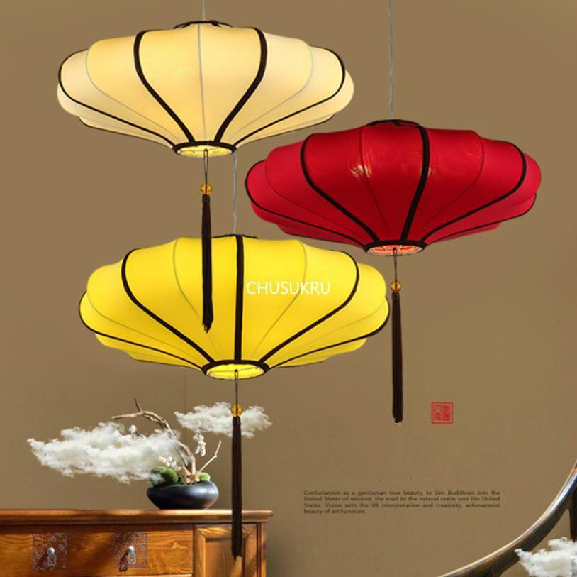 Lámpara colgante china, moderna, creativa, para casa de té, lámpara clásica, Linterna Roja china, lámpara colgante de tela antigua