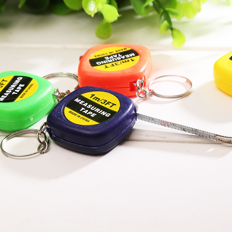 1 Meter Random Color Keychain DIY Tire Wheel Keyring Tool Popular Mini Measuring Tape Portable Key Chains Funny Travel Tape Hot