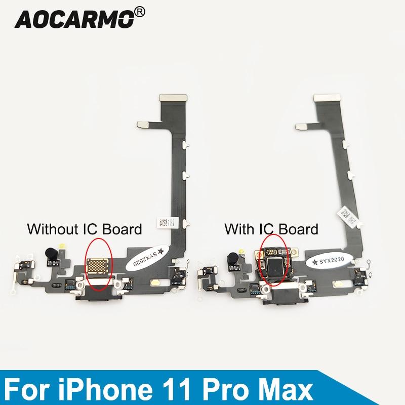 Aocarmo-منفذ شحن USB ، موصل قاعدة ، ميكروفون ، سماعة رأس ، كابل مرن مع لوحة IC ، iPhone 11 Pro Max