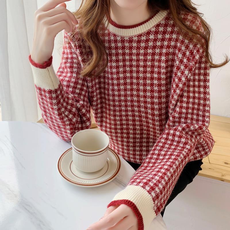 2020 coreano clássico xadrez de malha pullovers tops moda feminina camisola casaco o pescoço manga longa casual jumper weater