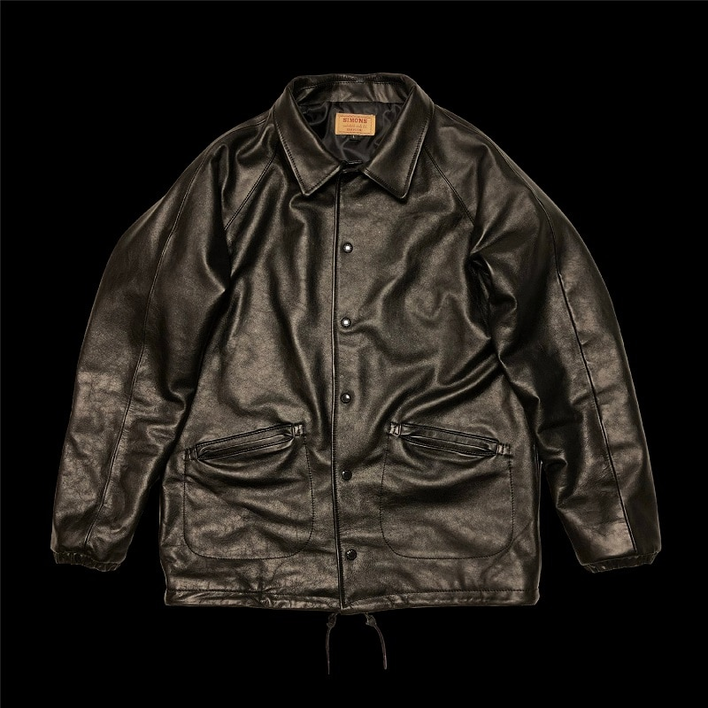 سنة! شحن مجاني. 2021 العلامة التجارية أسود جودة جلد العجل سترة. خمر نمط كلاسيكي سفاري JS01 معطف جلد طبيعي. luxury