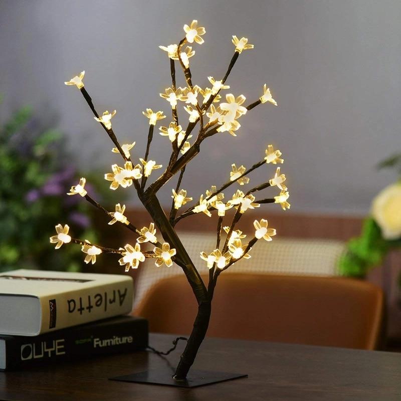 Luz de árbol de flores de cerezo de felicitación de Navidad 24/36/48 lámpara led de alambre de cobre Luz de noche para la decoración del hogar de la fiesta de la boda