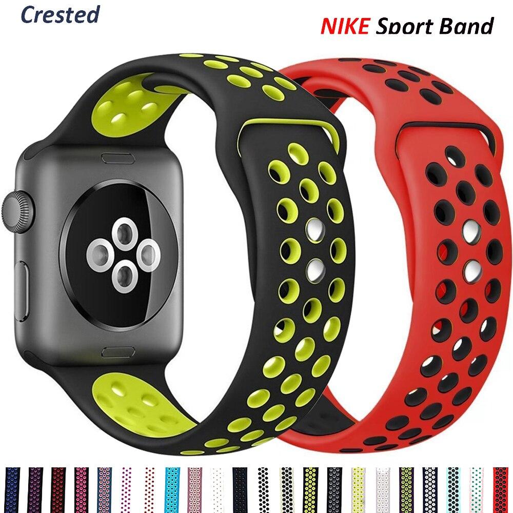 Силиконовый ремешок для Apple Watch, ремешок 44 мм, 40 мм, 38 мм, 42 мм, дышащий наручный ремень, спортивный браслет iWatch, серия 5, 4, 3, se, 6, 42/44 мм
