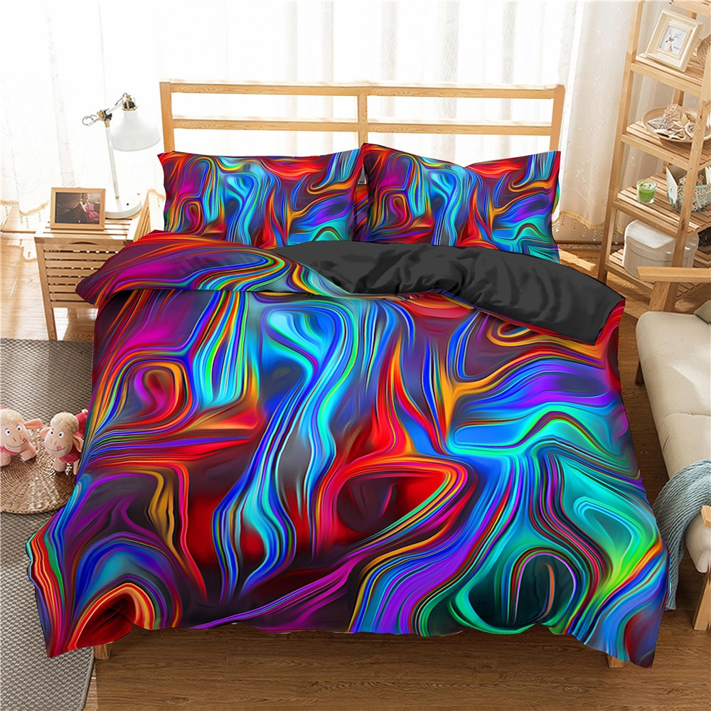 3D Colorful Abstract Art Bedding Set Duvet Cover King Queen Size Bed Set Printed Quilt Cover Home Textile Bedding