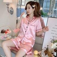 Women\'s Pajamas Summer Silk-pajamas Kaiva Lapel Cardigan Short Sleeve Shorts Sleepwear Home Service 2-piece Set Women Sets 2021