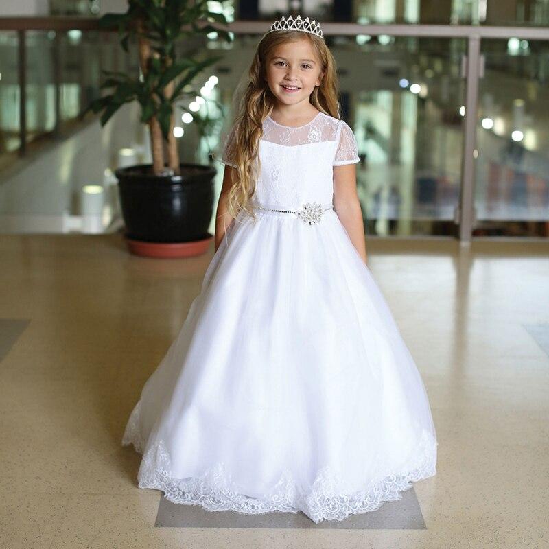 2021 On Sale Lovely White Lace Flower Girls Dresses Short Sleeves Jewel Neckline Holy Communion Gowns Beaded Bow Belt