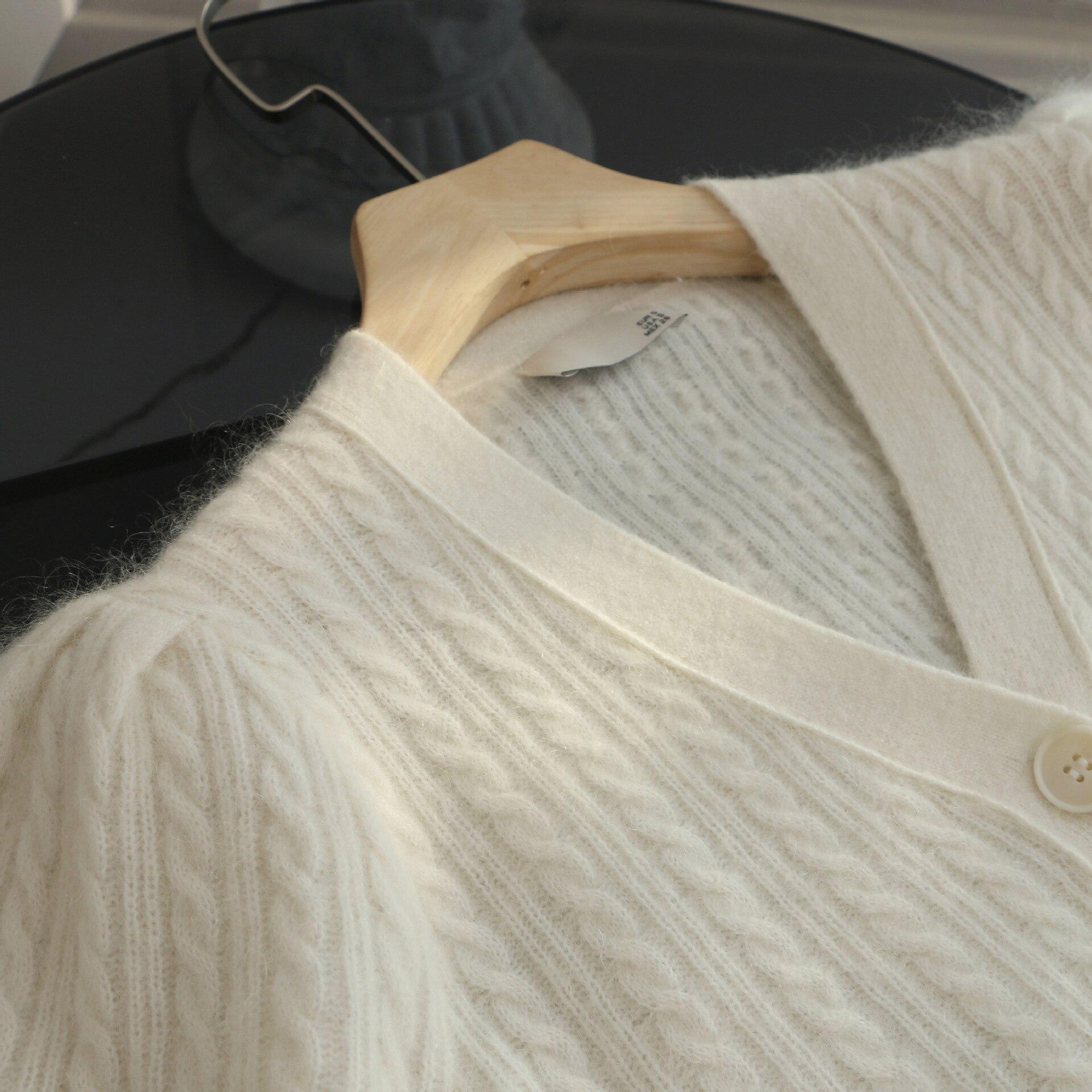 SHUCHAN 35% Mohair Wool Blend SWEATER WOMEN White Puff Sleeve  V-Neck  High Street Crop Tops Cardigan Fashion enlarge