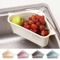 Filtro de pia cozinha filtro de pia triangular filtro dreno vegetal escorredor cesta ventosa esponja titular rack de armazenamento #1