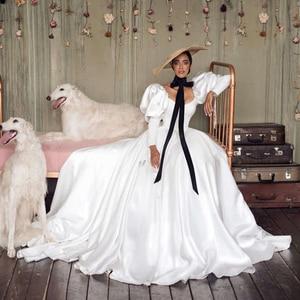 UZN Boho Wedding Dress White A-Line Scoop Neck Satin Bridal Gowns Lantern Long Sleeves Brides Dress Custom Made