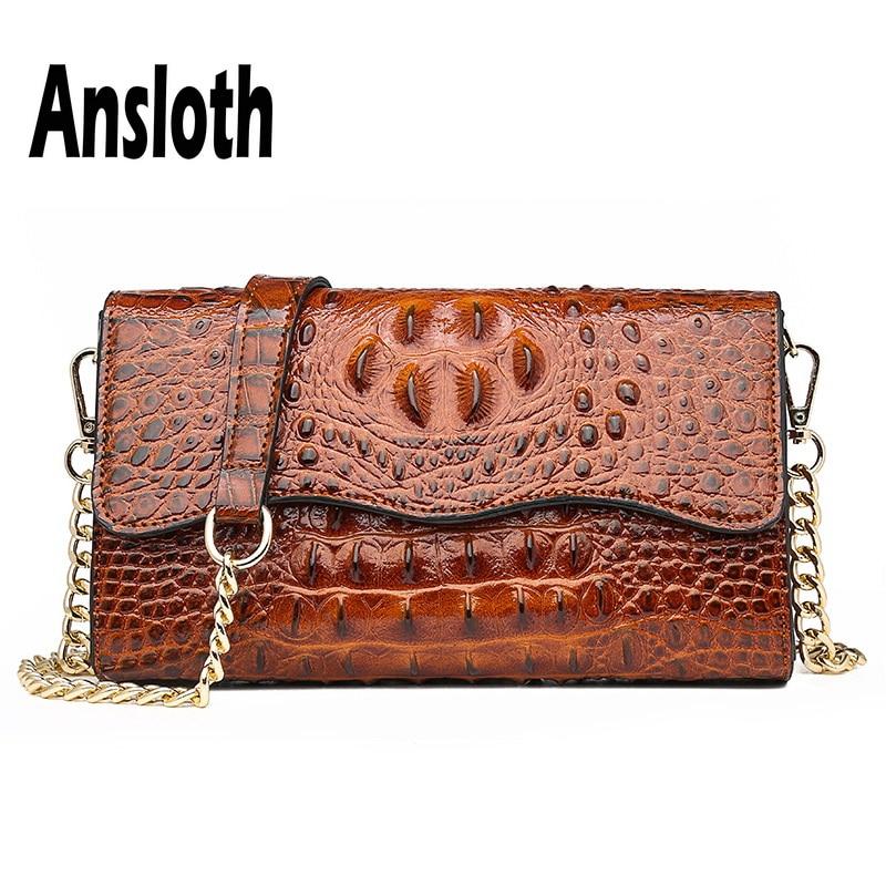 Ansloth Crocodile Design Shoulder Bag Women Small Square Bag Ladies Chain Crossbody Bag Female PU Leather Flap Bags HPS660