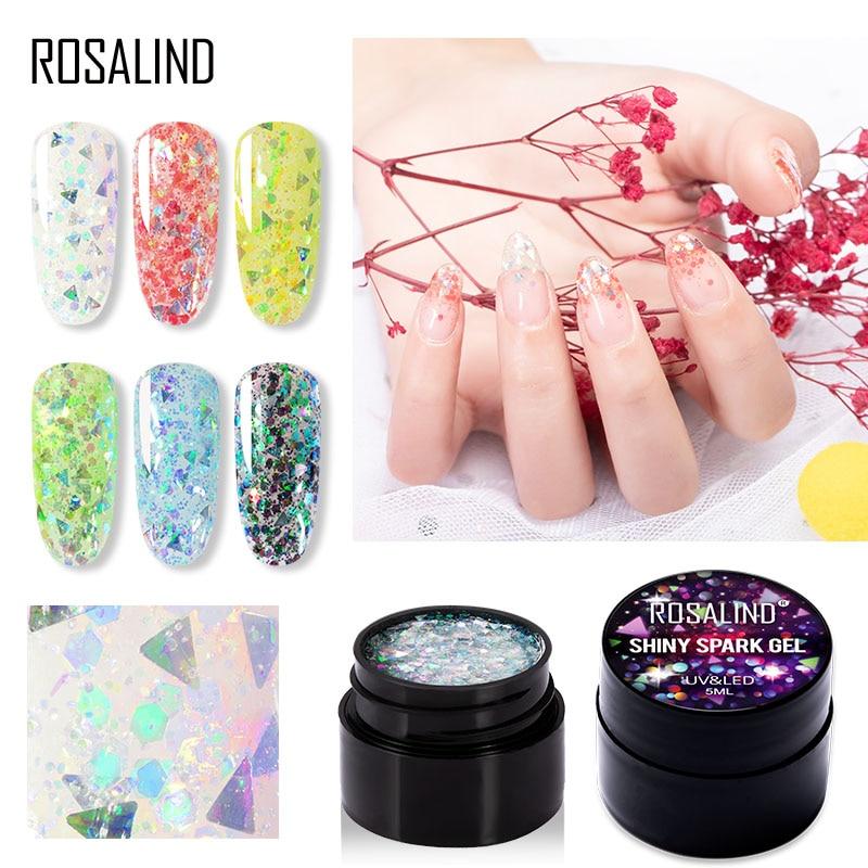 ROSALIND deslumbrante Gel de diamante esmalte de uñas brillante Spark uñas Gel brillo UV LED Base Primer todo para manicura 5ml laca híbrida