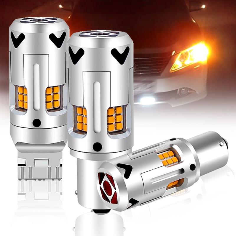 2x LED في CanBus لا خطأ 1156 7506 7528 BA15S P21W led BAU15S PY21W T20 7440 WY21W ل سيارة بدوره مصباح إشارة لا فلاش الأصفر @ 12V