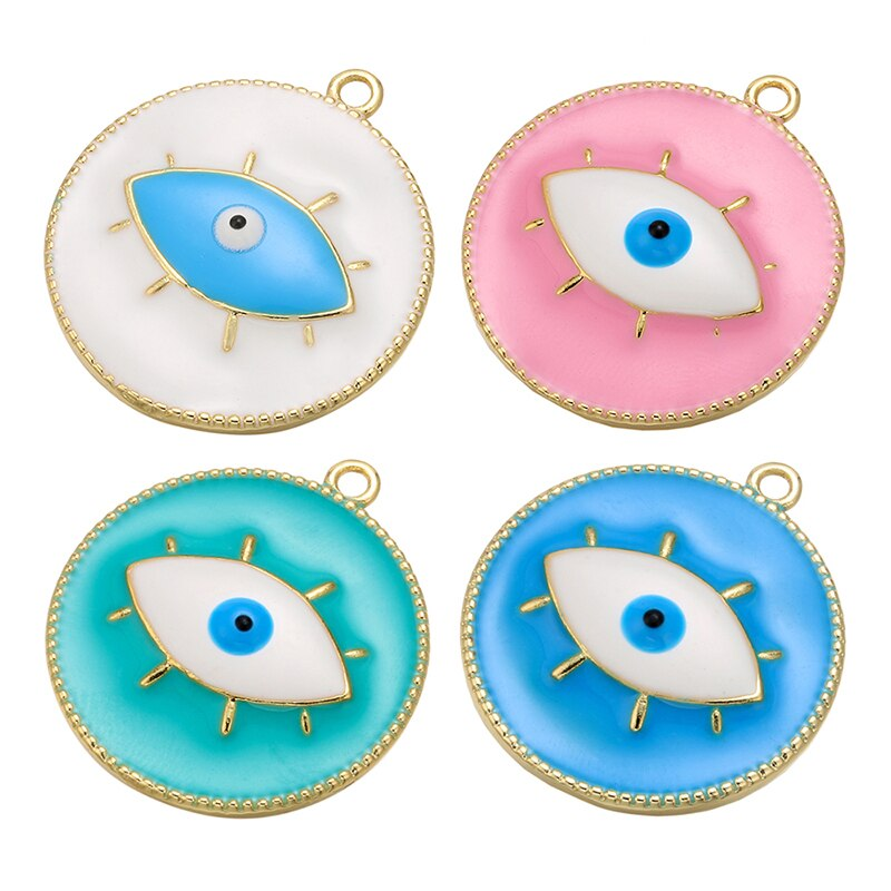 Atacado esmalte encantos olho colorido contas plat ouro designer de diy acessórios para fazer jóias diy colar pulseira achados