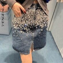 SHENGPALAE 2020 New Fashion Spring Vintage Navy Blue Heavy Industry Beaded Diamond Front Split Denim Skirt Women ZA2860