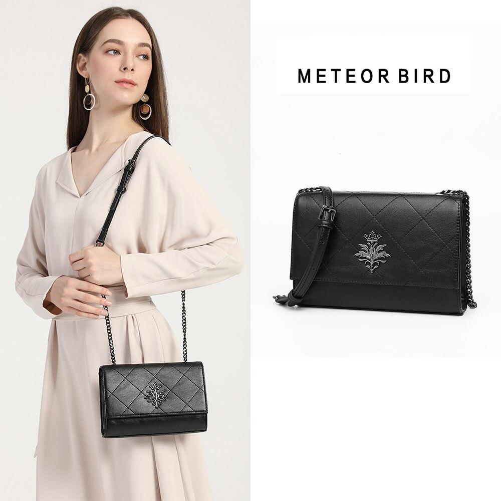 Bolsa de hombro de tela escocesa negra de pájaro de meteorito para mujer