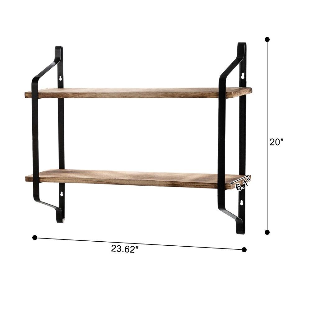 Купить с кэшбэком 2 Tiers Floating Shelves Wall Mounted Industrial Wall Shelves for Living Room Bedroom Kitchen Entryway Wood Storage Shelf