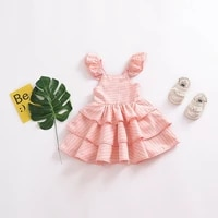kids baby plaid tutu dresses for girls pink cake birthday party princess cute casual soft children fashion cotton clothing