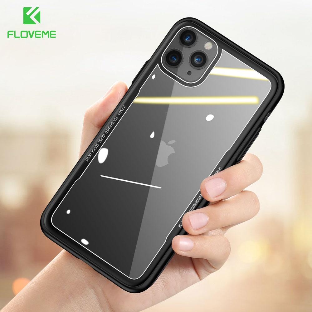 Novedoso Pack funda de vidrio templado para teléfono para iPhone 11Pro MAX 7 8Plus 7 8 11 para iPhone 11 PRO X XS X transparente Fundas