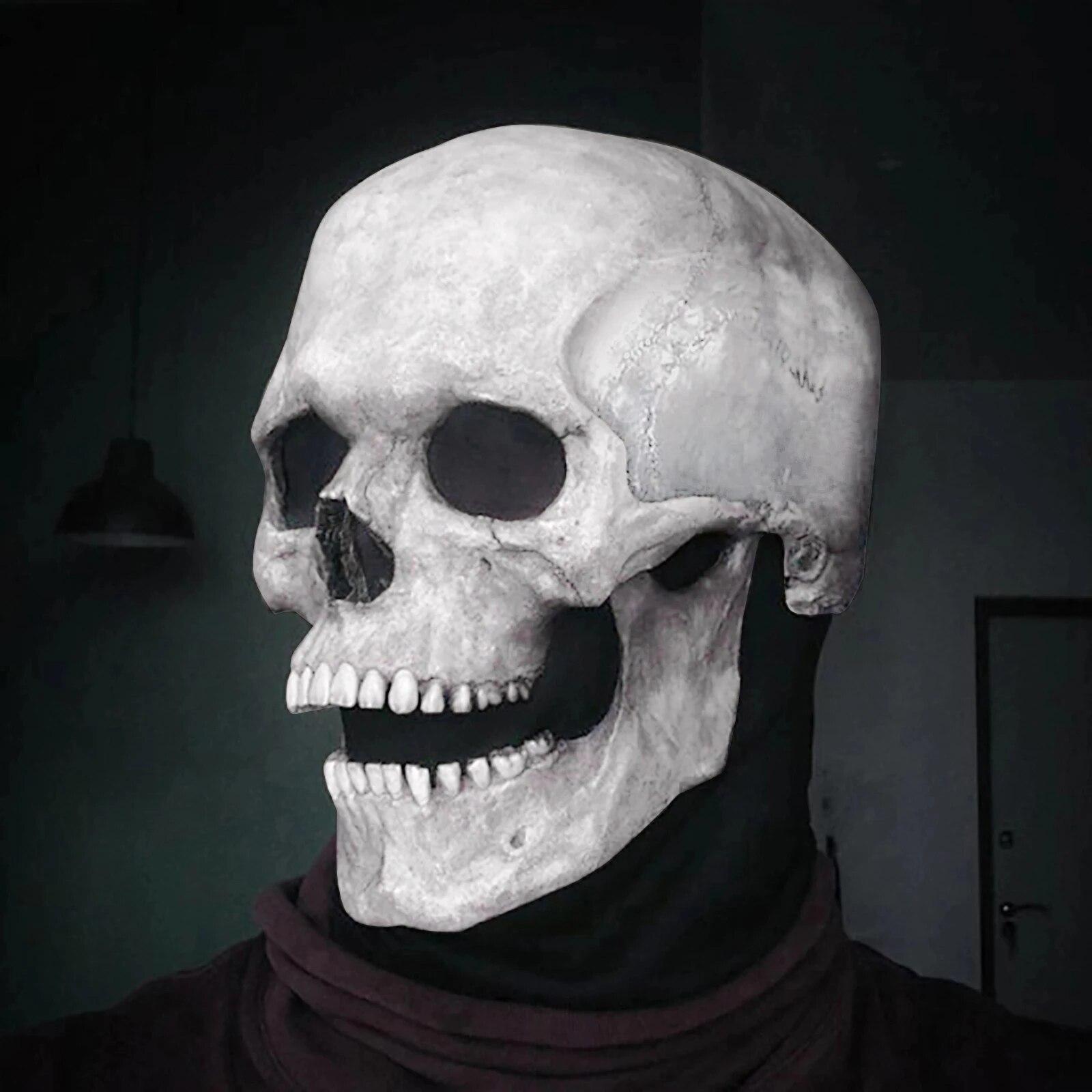 Искусственная маска на голову с черепом на Хэллоуин/шлем с подвижными челюстями 2021, креативные смешные страшные маски унисекс для взрослых ...