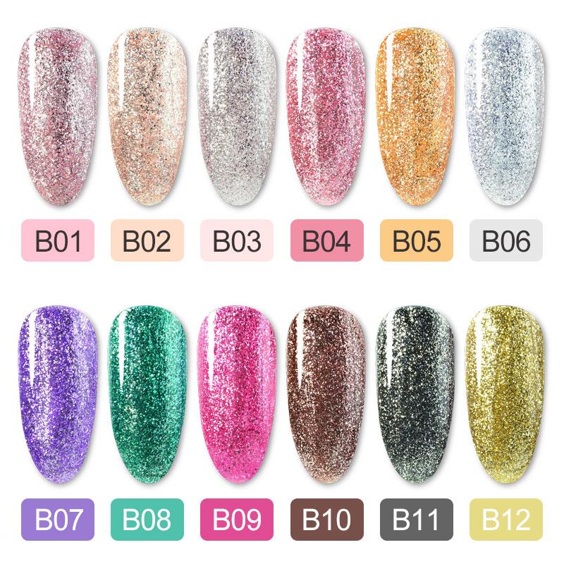 12pcs/kit Platinum Painting Gel Set 5ml Crystal Lacquer Super Glitter Pearl Diamonds Gel Nail Polish Luxury Color Varnish