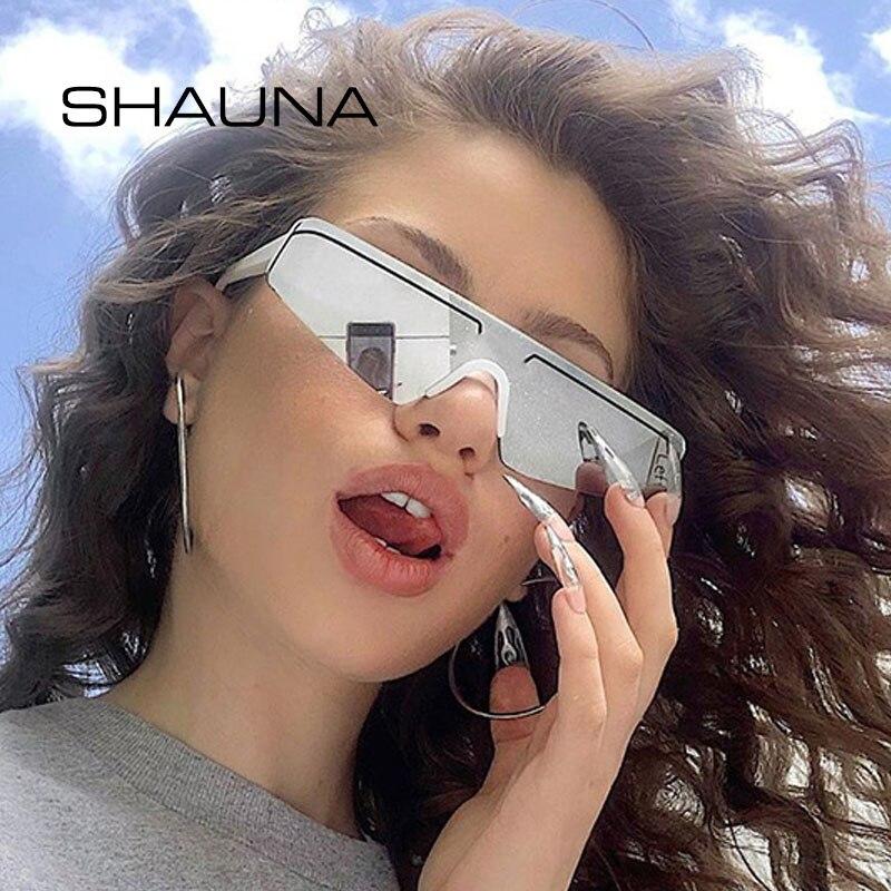 SHAUNA Fashion Half Frame Purple Mirror Sunglasses Retro Small Cat Eye Reflective Shades Men