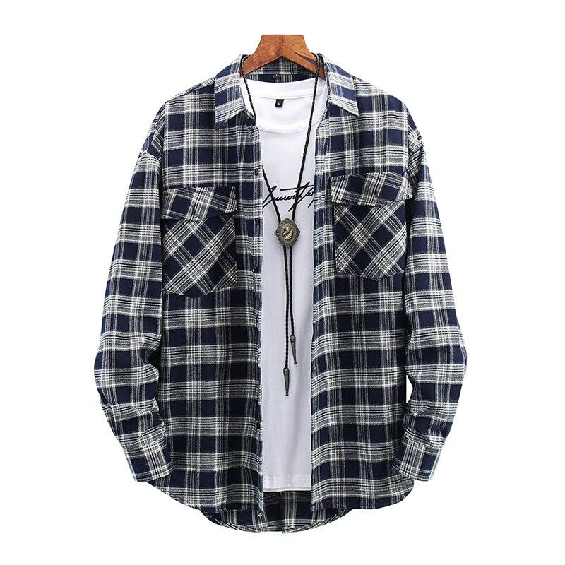 Рубашки оригинальная хлопковая рубашка мужские рубашки рубашка в клетку мужская одежда клетчатые Топы 2021 Мужская модная повседневная верх...
