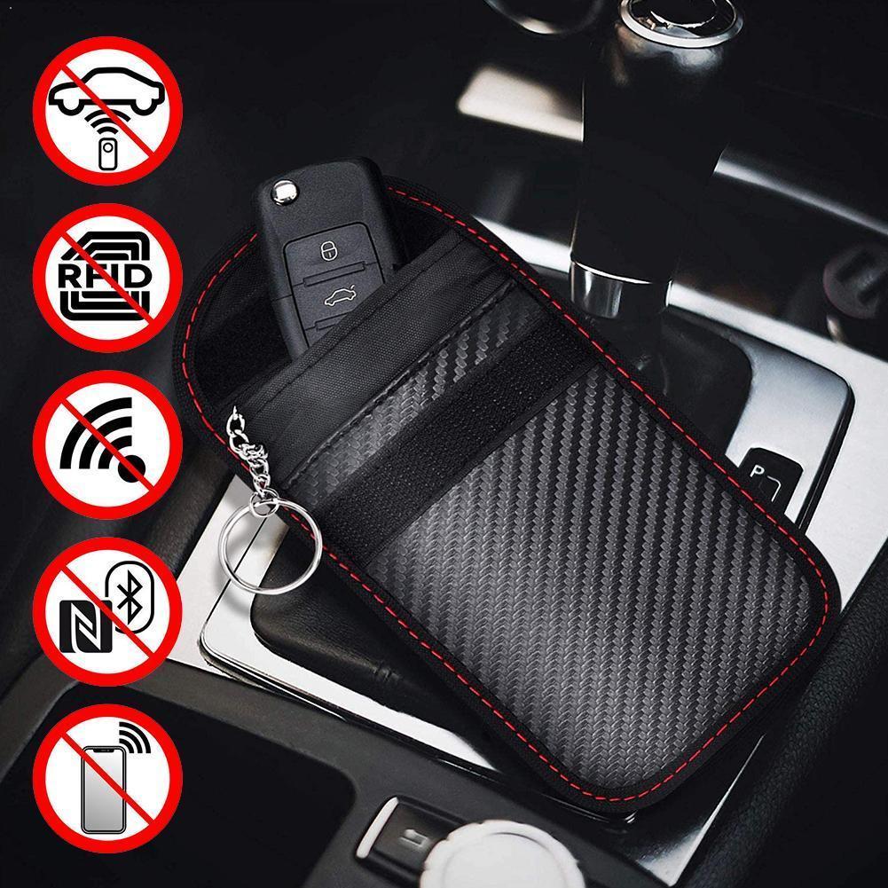 Car Key Signal Blocker Case Faraday Cage Fob Pouch RFID Anti-theft Car Bag Key Wallets Blocking Keyl