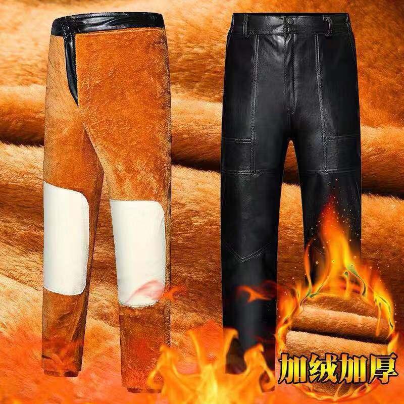 سراويل جلد كشمير للدراجات النارية, سراويل جلد شتوية من البولي يوريثين