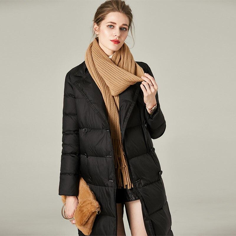 Women down coats luxury autumn winter warm fashion white duck down Jackets Female lady long puffer hooded black double breast
