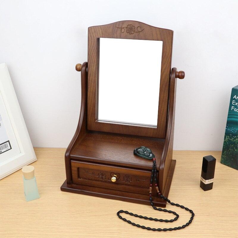 2021 New Wooden Desktop Makeup Mirror Large Desktop Storage Box Integrated Retro Vanity Mirror Home Antique Style Folding Mirror