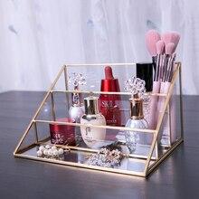 3 couches verre maquillage organisateur Triangle présentoir salle de bain cosmétique organisateur Makeupbrush rouge à lèvres bijoux étagère de rangement