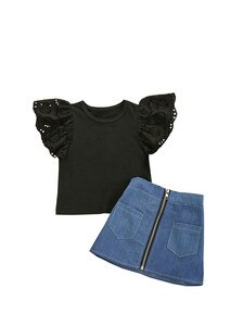 Girl's Skirt Two Pieces Suit Fashion Solid Color Fly Sleeve T-shirt and Zipper Denim A-line Short Skirt