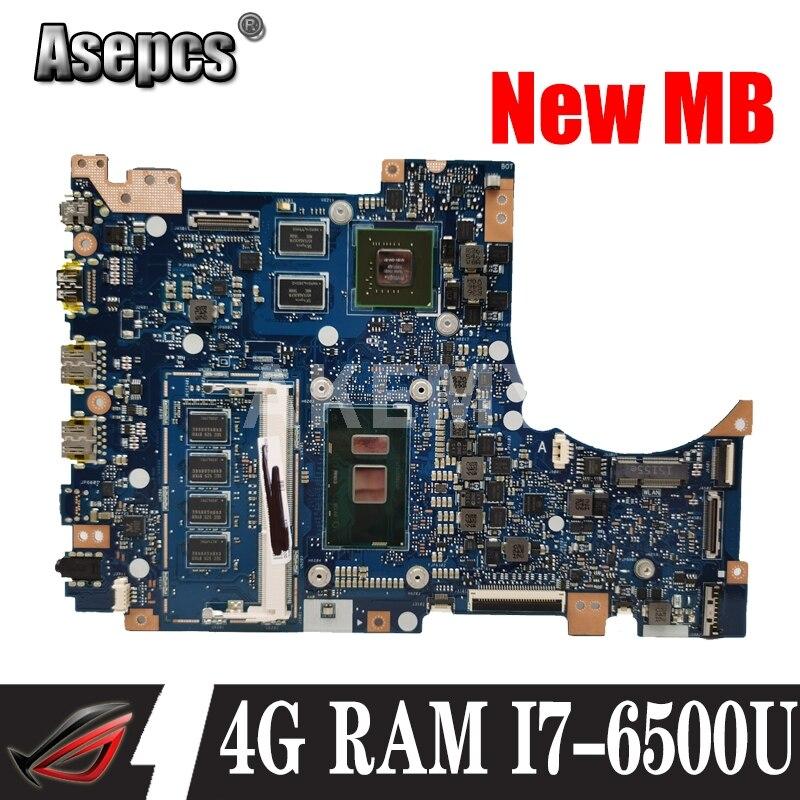 Akemy TP301UJ اللوحة الأم ل For Asus TP301UA Q303UA الأصلي اللوحة الأم 4GB-RAM I7-6500U GT920M-2GB اختبار 100% العمل اللوحة الأم