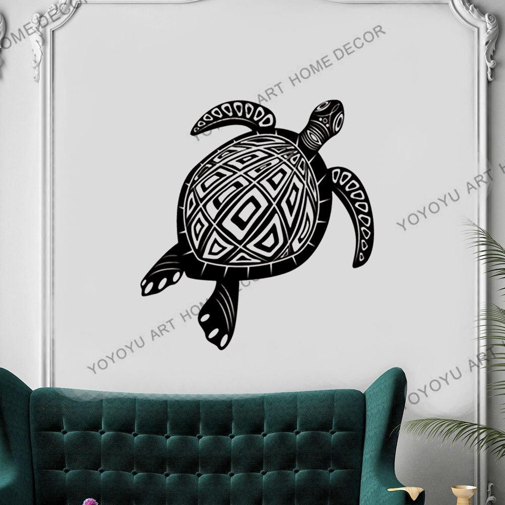 Calcomanía de vinilo personalizada para pared animales tortuga gigante náutico marino océano Mar Caribe playa decoración Animal pegatinas de pared rb442