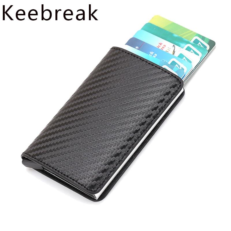KEEBREAK Rfid Smart Wallet Men Mini Carbon Fiber Magic Wallets Male Thin Slim Wallet Card Holder Leather Walet Purse Money Bags