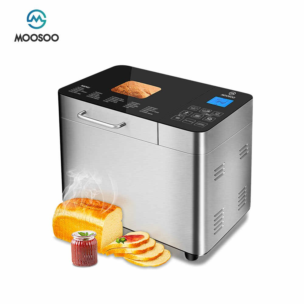 MOOSOO 15 in 1 Stainless Steel Automatic Bread Machine Programmable Bread Maker With Lcd Display Sonifer Bread Making Machine