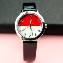 free shipping student wristwatch children luminous hands simple dial pu leather watch best gift for