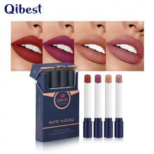 4 Colors Cigarette Design Matte Lipstick Velvet Sexy Nude Lip Blam Long Lasting Makeup Waterproof Not Fading Lipstick TSLM1