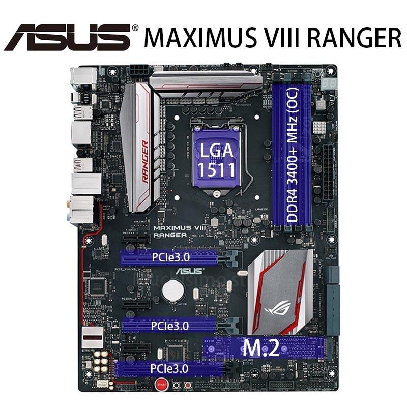 LGA 1151 Asus MAXIMUS VIII RANGER Motherboard DDR4 Intel Z170 M.2 SATA III PCI-E 3.0 i7 i5 i3 64GB Desktop Z170 Placa-mãe 1151