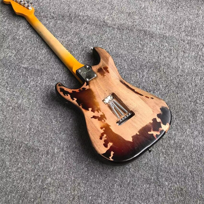 Antique electric guitar, stock, green guard, real photos, free shipping, sunset color, can be modified as required enlarge