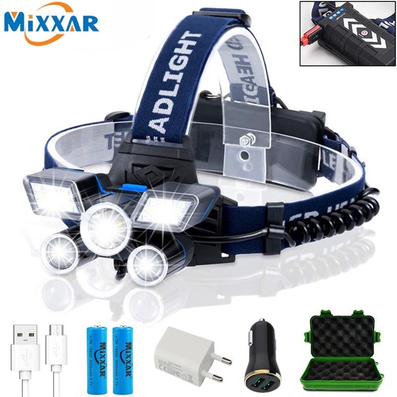 ZK20 LED Headlamp High Lumens (21 LED) Ultra Bright 9 Modes Headlight USB Rechargeable Flashlight Waterproof Camping Fishing