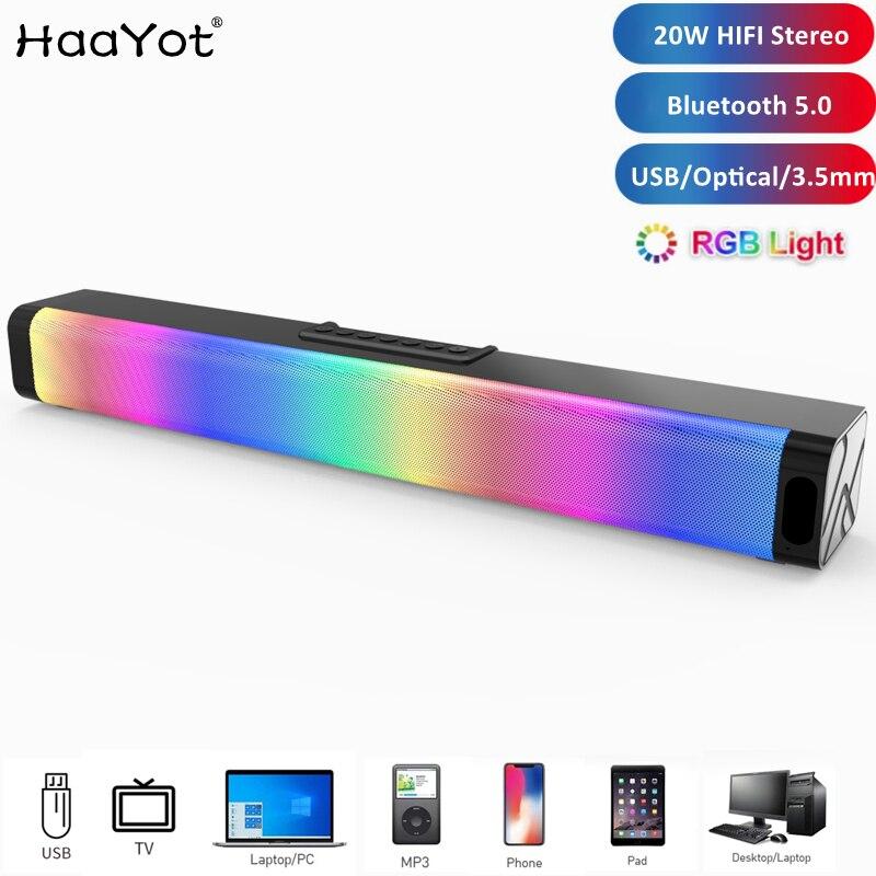 2021 ألعاب كمبيوتر مكبرات الصوت مع RGB ضوء قوي باس ستيريو الصوت USB 3.5 مللي متر البصرية مكبرات الصوت PC 20 واط المتكلم للكمبيوتر TV المحمول