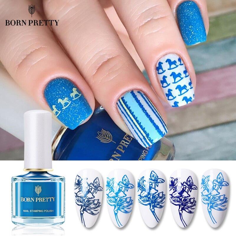 BORN PRETTY esmalte de uñas estampado serie Beach Walking 6ml barniz sello barniz azul claro arte imagen impresión Vernis