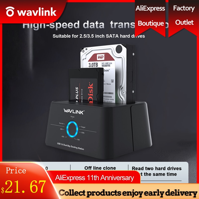 Wavlink HDD Docking Station Sata Hard Drive Enclosure  SATA to USB 3.0 Adapter for 2.5 3.5 SSD Disk Case HD Box Dock