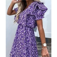 women floral print dress layered ruffle sleeve v neck dress female casual elegant style lace up clothes fashion 2020