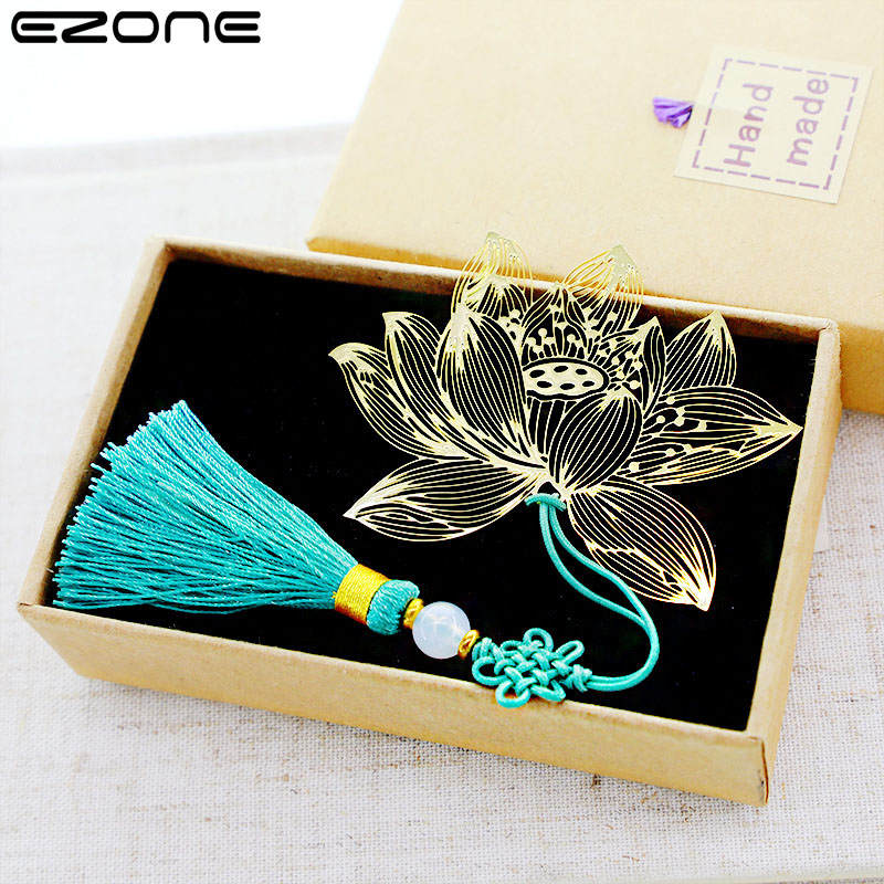 EZONE Metal Brass Lotus Bookmark Creative Butterfly Dragonfly Classical Chinese Style Cute Student Office Supplies chinese style metal hollow bookmark lotus lotus leaf bookmark creative stationery fine holiday gifts art accessories