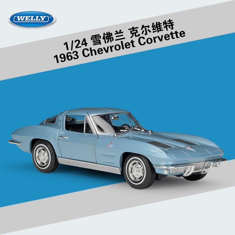 diecast 124 chevrolet 1963 corvette welly liga modelo de carro estatico veiculo brinquedo